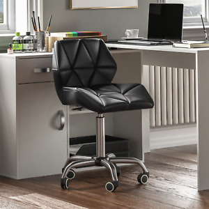 Computer Office Chair Home Cushioned Leather Low Back Swivel Adjustable Black