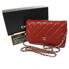 Authentic CHANEL Quilted CC Chain Shoulder Wallet Bag Purse Red Spain AK14112