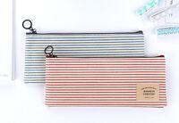 Student Boy Girl Canvas Blue Stripes Pencil Case Zipper Simple Style Pouch Bag