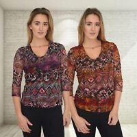 Womens Plum Burgundy Brown Floral Lace Top Scoop Neck 3/4 Sleeve