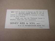SIDNEY KIEK & SON. BOOK SELLER. LONDON. circa 1900 ORIGINAL ADVERTISING FLYER.