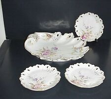 Antique Porcelain Platter & Plates Hand Painted Enameled Pierced Shell Shape