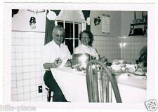 Happy Mid Century Couple Black White Photograph Breakfast Nook Art Deco Toaster