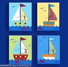 Sailboats Boats Kids Nautical Wall Decor Baby Nursery Children Boy Art Prints