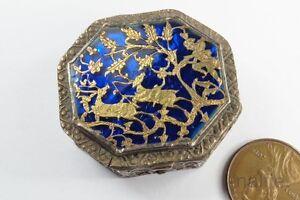 ANTIQUE INDIAN SILVER & GOLD BLUE PARTABGARH ENAMEL SNUFF / TRINKET BOX c1800's