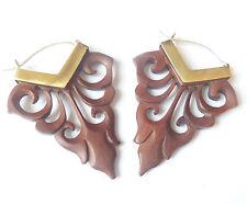 Tribal Carved Wood Boho Earrings .925 Sterling Silver Hook Gypsy Jewelry