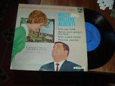 """WILLY E WILLEKE ALBERTI  SANREMO'63 """" UNO PER TUTTE + 3 """" E.P.   HOLLAND'63"""