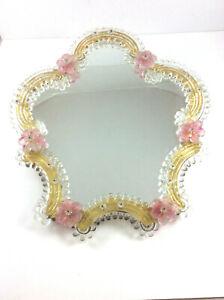 Prunkvoller Murano Spiegel geschliffen mit Rosetten & Blüten