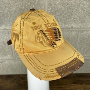 Vintage True Religion Native American Yellow Brown Leather Hat Cap Rare