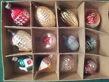 """12 VTG MERCURY GLASS FEATHER TREE CHRISTMAS ORNAMENTS - 1 1/2""""  TO 2 3/8"""" LONG"""