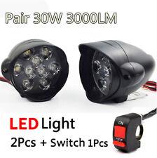 2Pcs 6000K White LED Motorcycle Headlight Lamp 30W 3000LM Fog Lights Spot Light