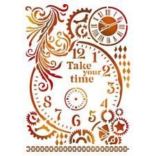 Stamperia Take Your Time Stencil A4 - Clock Cogs Steampunk