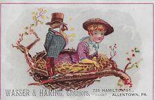 GIRL & ANTHROPOMORPHIC BIRD IN NEST ~ WASSER & HARING, Victorian Adv. Card