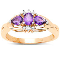 9ct Gold Amethyst & Diamond Engagement Ring, Ring Size H,I,J,K,L,M,N,O,P,