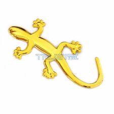 2 Pcs Car 3D Decal Sticker Badge Emblem Golden Gecko Lizard For Bumper Window