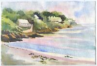 VINTAGE SUNRISE DAWN HOUSES COVE OCEAN BEACH YORK MAINE LISTED ARTIST PAINTING