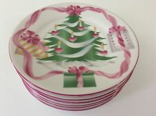 Sango Home for Christmas Set Of 6 BREAD & BUTTER Desert Plates Tree Pink EXC