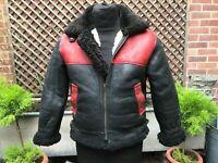 Vintage ladies Leather & shearling Black Red Flying Aviator Bikers Bomber jacket