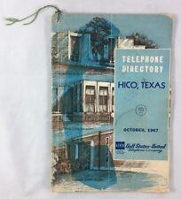 Oct 1967 Telephone Directory Hico Texas Gulf States United Telephone Co