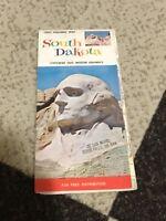 1965 SOUTH DAKOTA Official State Highway Road Map Black Hills Mt. Rushmore