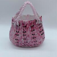 Pink Art Glass Purse Vase Speckled Blown Glass Leopard Print