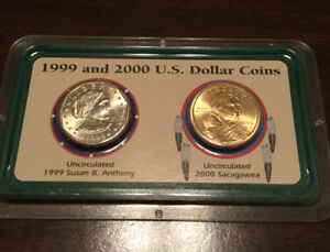 1999 and 2000 US Dollar Coins - Susan B Anthony / Sacagawea