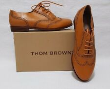 Thom Brown Women's Lace Up Perforated Leather Casual Oxfords Mustard Shoes Sz 38