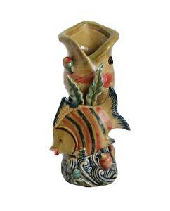 """Art Pottery Seashell Vase w/ Applied Tropical Fish 3-D 1970's Inspired 10.5"""""""