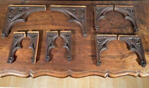 10 Nicely Carved Antique Gothic Revival Solid Oak Wood Brackets/Corbels/Trim