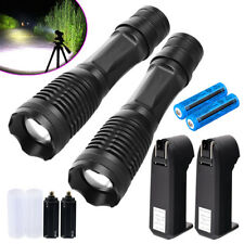 2Sets Tactical 50000Lumens T6 Torch High Powered Led Flashlight Super Bright
