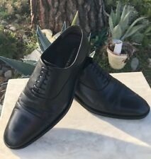 $319 BRUNO MAGLI Soft Calf Skin Black Cap Toe Lace-Up Oxfords 8 W Made In Italy