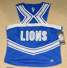 NEW Real Authentic GTM Adult Cheerleading Uniform Cheer Lions Blue White Silver
