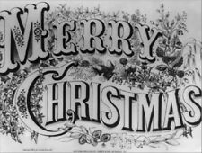 "*Postcard-""Merry Christmas""  /Decorative B & W Postcard/ (B-207)"