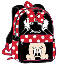 12in Disney Minnie Mouse 3D Happy Face White Dot Small School Backpack