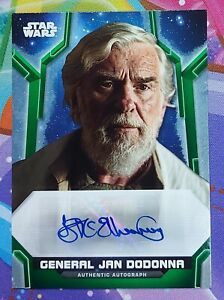 2020 Star Wars Holocron GREEN Autograph IAN McELHINNEY as JAN DODONNA Auto 66/99