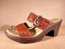 Born Brown Leather Sandals Slides Slip On Heels Women Sz 7  Cushion Comfort Shoe