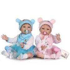 A Pair Reborn Twins Dolls 22'' Boy Girl Vinyl Silicone Reborn Baby Doll 2pcs