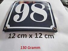 Hausnummer  Emaille Nr. 98  weisse Zahl auf blauem Hintergrund 12 cm x 12 cm