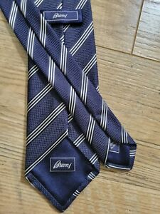 """Brioni Blue striped Neck Tie 100% Silk 3.25"""" Wide 58"""" Long Made in Italy NEW"""