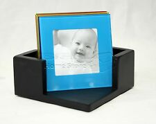 6 Multi Coloured Glass Photo Coasters Picture Frame Placemats Drinks Cup Mat