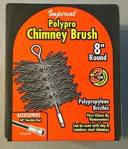"""Imperial BR0182 Heavy Duty 8"""" Round Poly Chimney Brush - Polypropylene Bristles"""