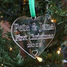 Personalised Christmas Tree Bauble Decoration Couples First Christmas Tree Decs