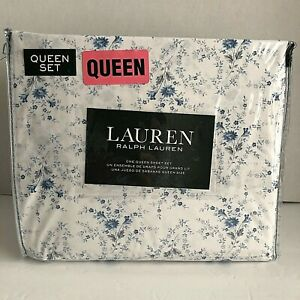Ralph Lauren Queen Sheet Set Cottage Floral Country Chic Blue Flowers 4 Pcs New