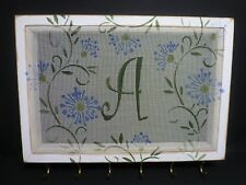 "MONOGRAMMED ""A"" DISTRESSED WHITE FRAMED WALL EARRING & JEWELRY HOLDER GALLERY"