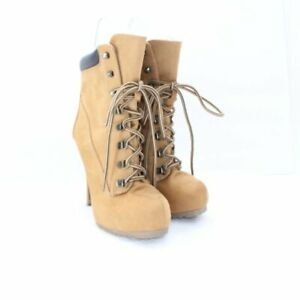 Charlotte Russe Women's Tan Gold Suede Lace Up Work Boot High Heels