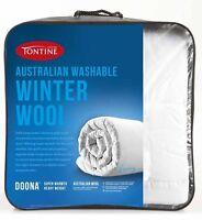 Tontine Australian Wool Quilt Doona 500gsm Winter Weight Queen Size Bed Washable
