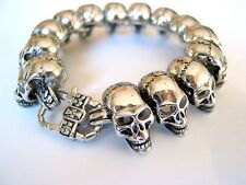 Stainless Steel 316L Mens Skull Biker Heavy 122g Bracelet  * US Seller *