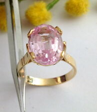 ANELLO IN ORO 18KT CON RUBINO ROSA SINTETICO - 18KT SOLID GOLD RUBY RING
