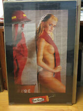 HOT STUFF firefighter ORIGINAL man cave car garage Vintage Poster 1987 10315