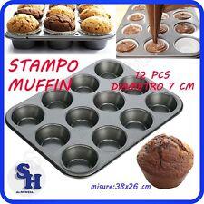 CAKE DESIGN STAMPO TEGLIA ANTIADERENTE TEGLIA DA FORNO 12  MUFFIN 7x3 CM DOLCI